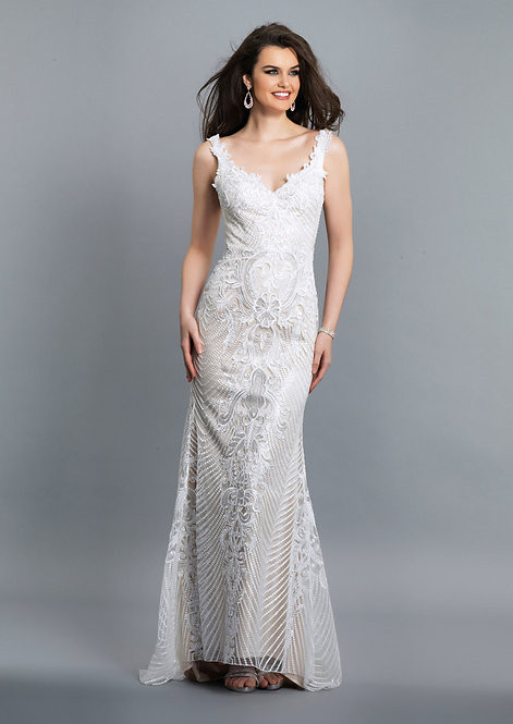 Ivory Lace Dress With Open Back
