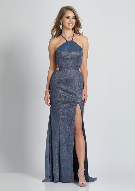 Metallic High Neck Low Back With Slit