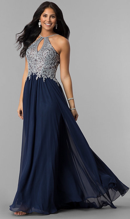 High-Neck Long Prom Dress with Front Keyhole Cut Out