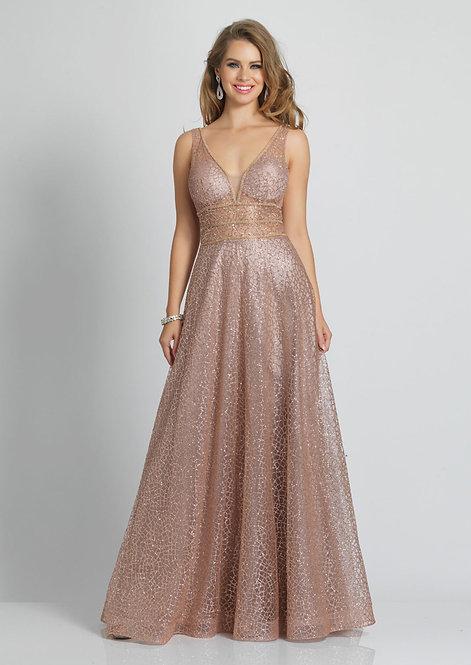 V Neck Glitter Mid Back Dress