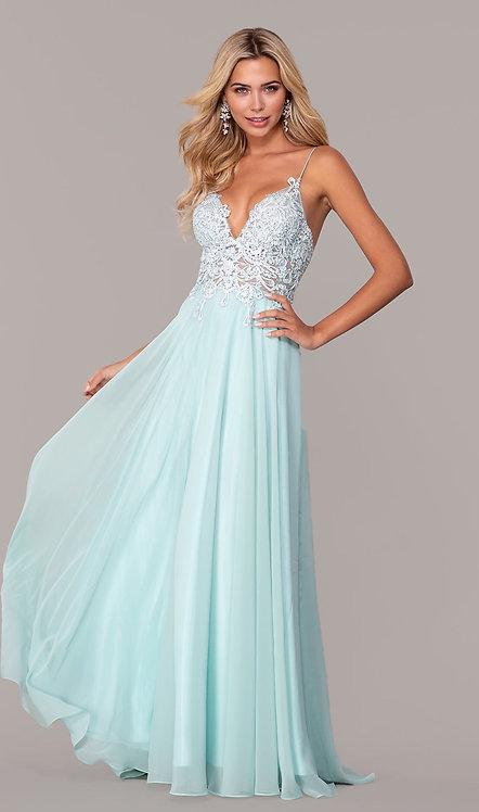 Long V-Neck Prom Dress