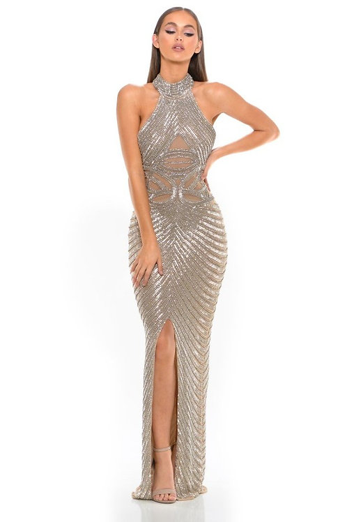 Couture High Neck Beaded Gown