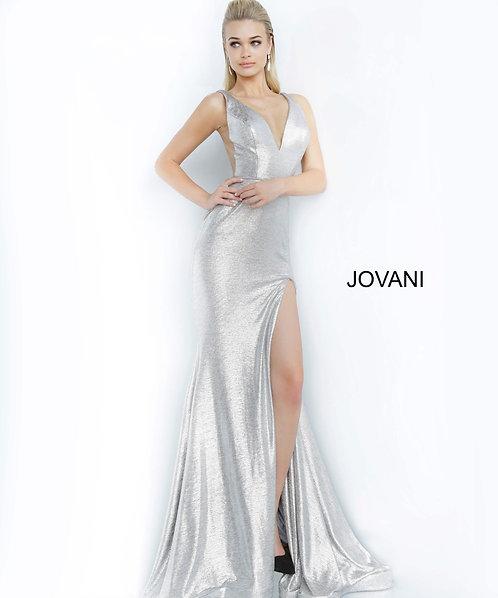 Stretch metallic fabric prom dress With high slit on skirt