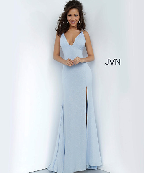 Plunging Neckline Fitted Prom Dress