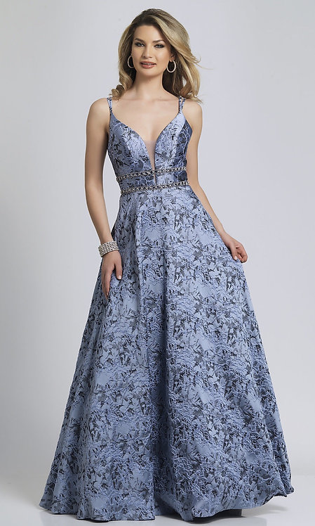 Long Lavender Print Ballgown-Style Prom Dress