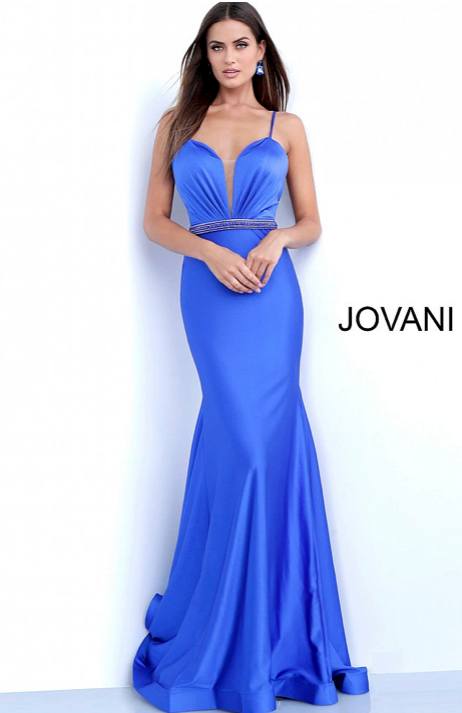 PLUNGING ILLUSION SLEEVELESS MERMAID PROM DRESS