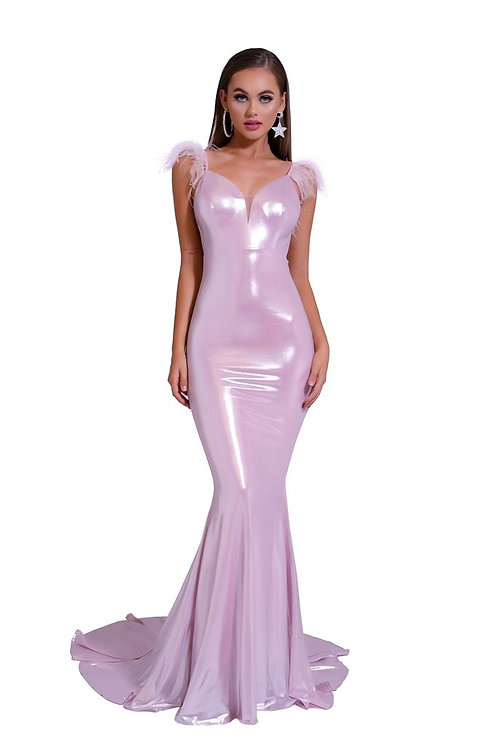 Low Back Pink Evening Gown