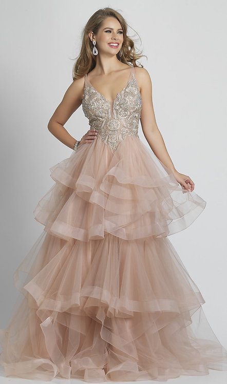 Long V-Neck Prom Dress with a Tiered A-Line Skirt