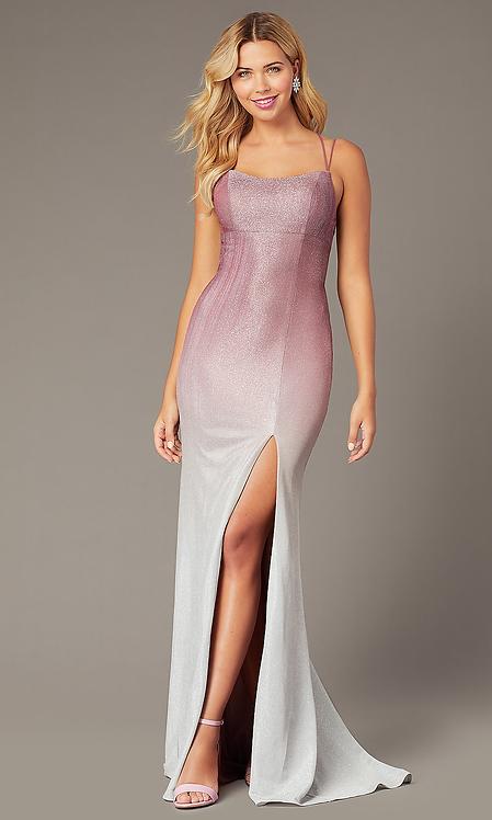 Long Empire Waist Glitter Formal Gown