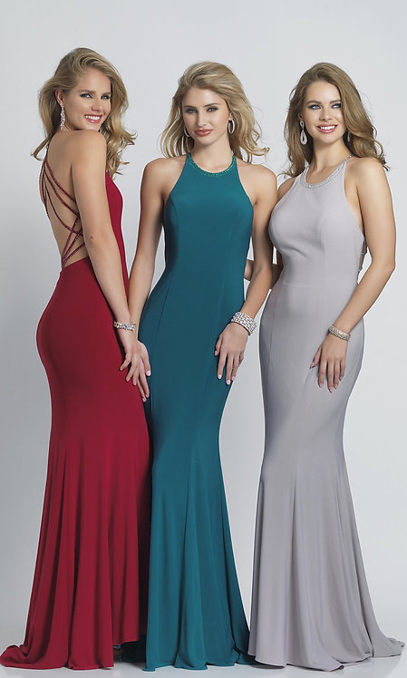 Fitted High-Neck Prom Dress with an Open Back