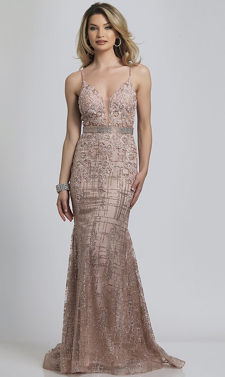 Long V-Neck Glitter Prom Dress with an Open Back