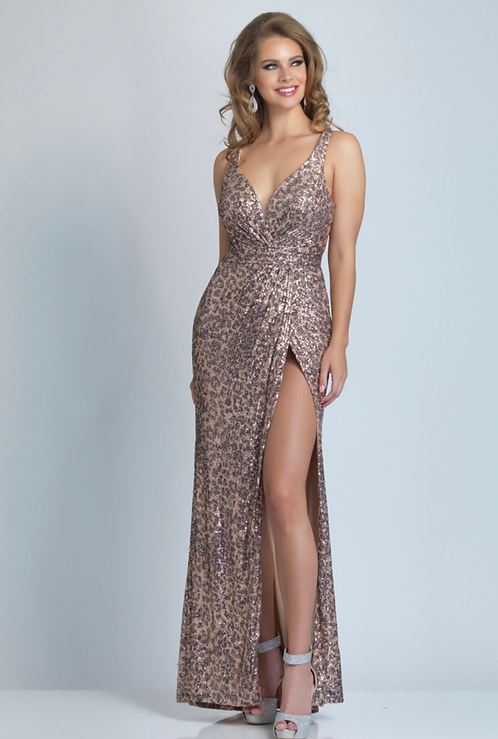 Sequin Print Dress Backless With Straps