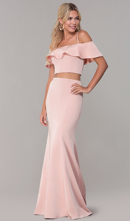 Off-the-Shoulder Two-Piece Prom Dress with Ruffle