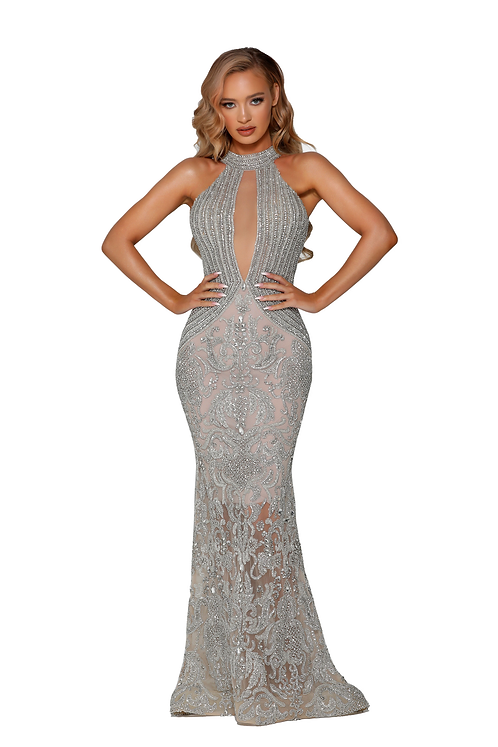 Lavish Embellished Long Fitted Halter Neck Dress