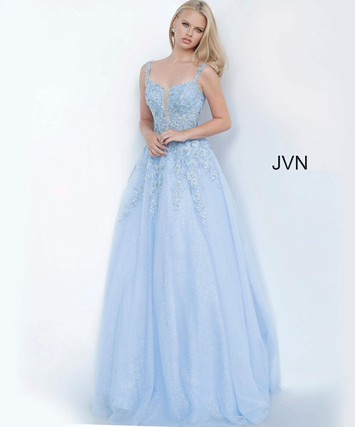 Floral embroidered glitter prom ballgown