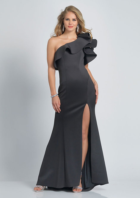 One Shoulder with Slit Dress