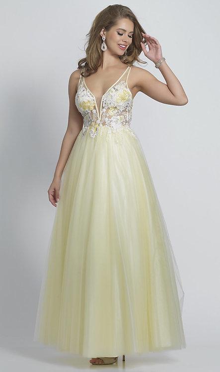 Long Open-Back V-Neck Ballgown-Style Prom Dress