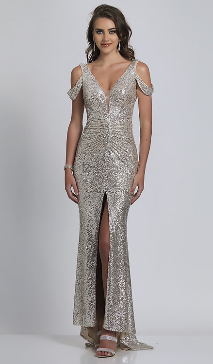 Long Silver Sequin Cold-Shoulder Prom Dress