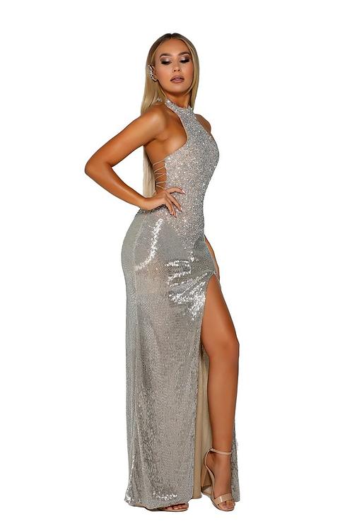 high halter neckline Long Beaded Dress