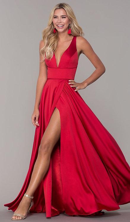 Long Red V-Neck Prom Dress with Side Slit