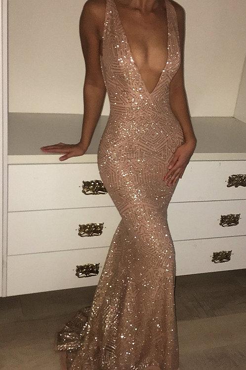 Custom Made Low V Neck Dress