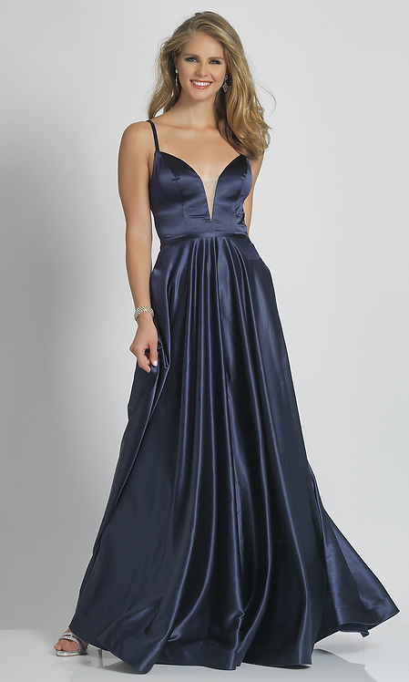 Long A Line V Neck Evening Gown