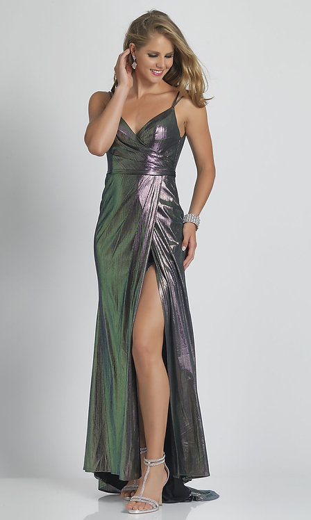 Iridescent Lilac Prom Dress with a Faux-Wrap Skirt