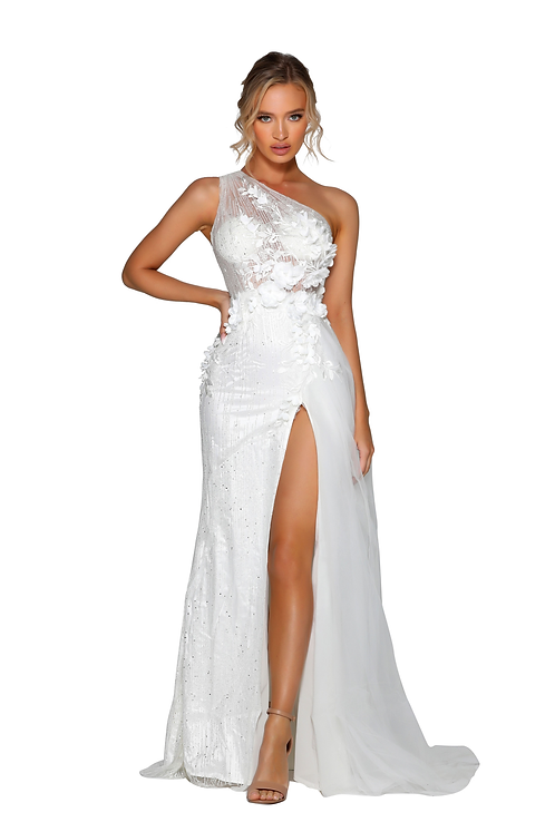 one shoulder bodice Dress with 3D flowers