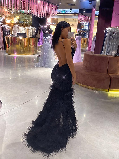 V Neck Low Back Evening Gown
