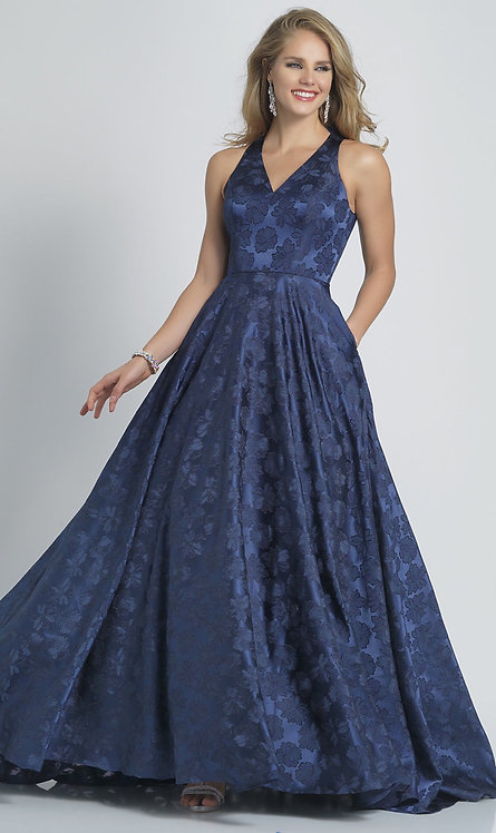 Long Navy Print A-Line V-Neck Prom Dress