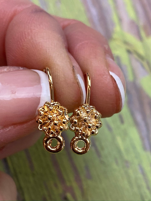 Gold Kidney Style Blossom with Drop Ear Wires