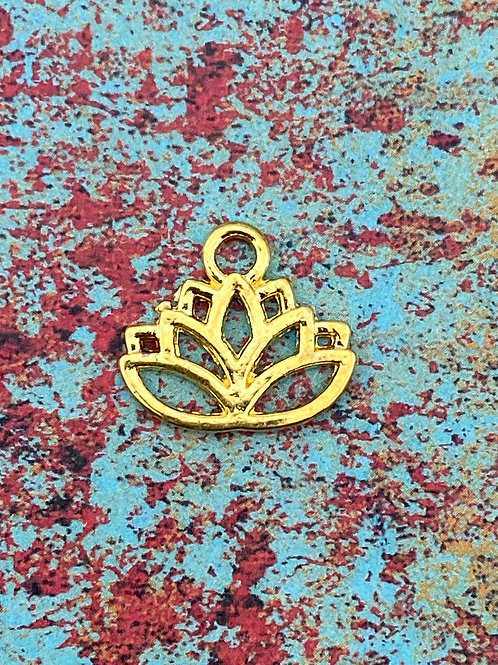 Gold Plated Lotus Charm (2 pieces)