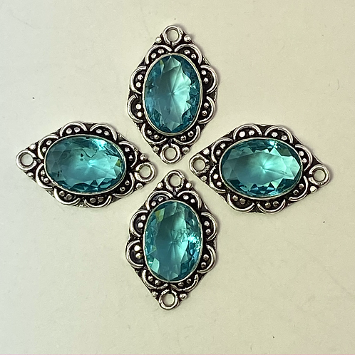 Fancy Bezel SetBlue Topaz Connector