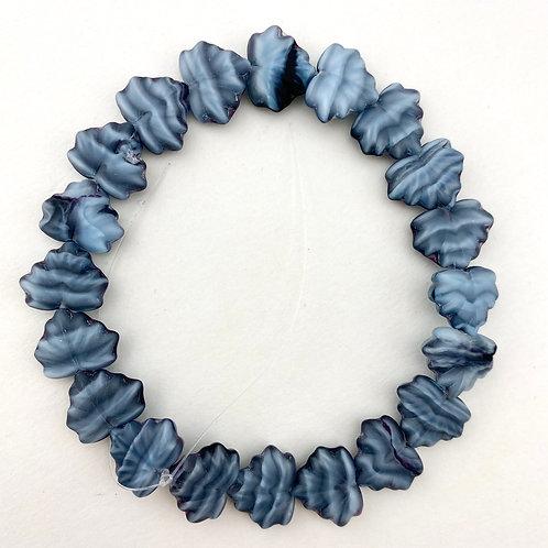 Slate Blue Czech Glass Leaf Bead Strand