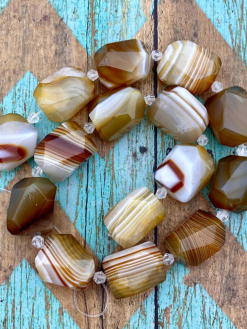 Hand Faceted Stripped Agate Nugget Strand