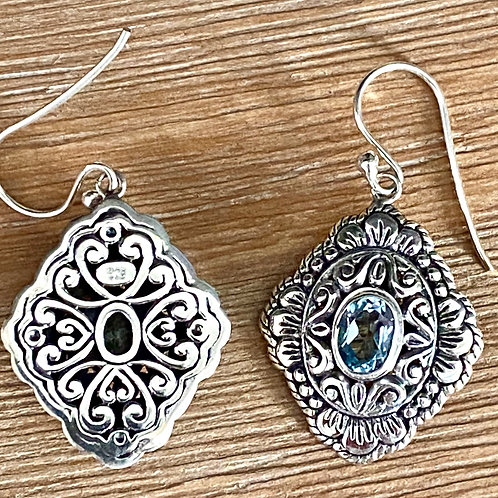 Sterling Silver & Aquamarine Earrings