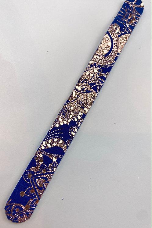 Royal Blue & Foil Rose Gold Leather Bracelet Blank