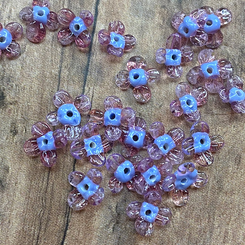 Tiny  Two Tone Purple Lampwork Flower Beads