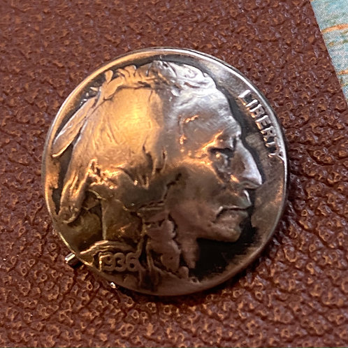 Authentic Silver Indian Head Coin Button