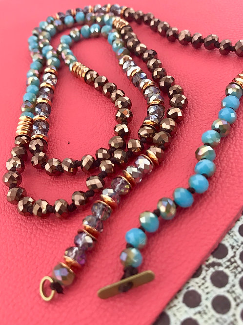 Multi Color Hand Knotted Crystal Necklace Brown & Blue