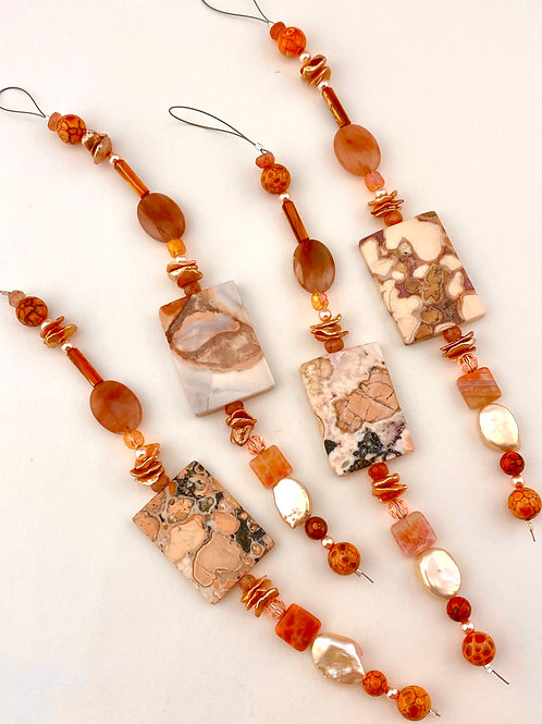 Mixed Bead Strand  Pumpkin/Peach