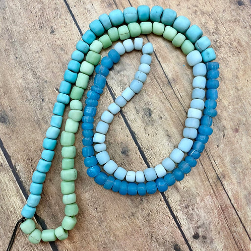 Sand Cast, Recycled Glass Trade Beads