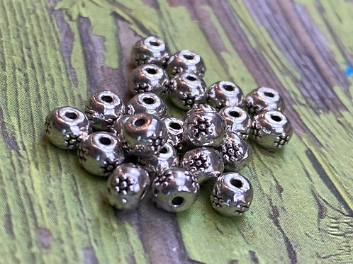 Hill Tribe Silver Sun Spacer Bead Lot (10 pcs)