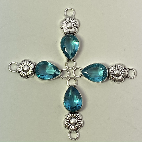 Blue Topaz Flower Connector