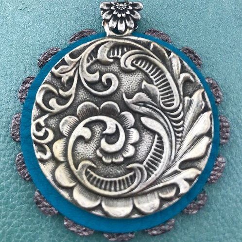 French Medallion & Leather Pendant
