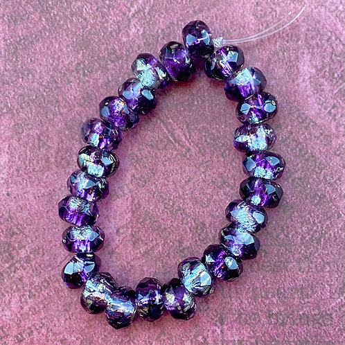 Large Hole Purple Silver Transparent/Opaque Bead Strand
