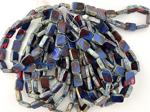 Rectangular Table Cut Czech Picasso Glass Bead Strands