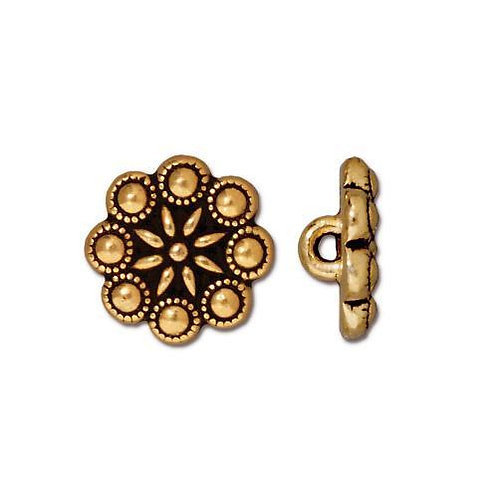 Rosette Round Antique Gold Button