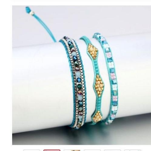 BoHo Bead Stitched Bracelet Trio