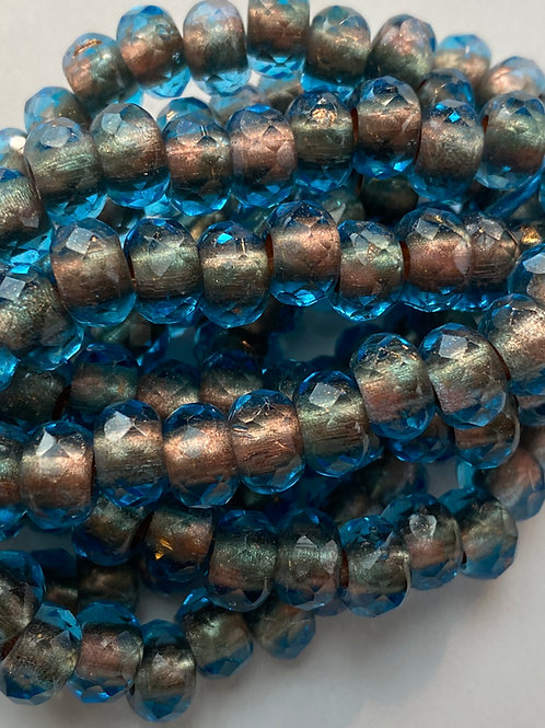 6x9mm Large Hole Pacific Blue/Copper Lined